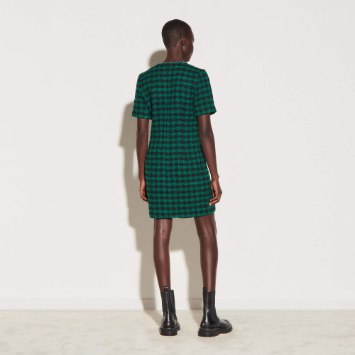 Short tweed dress with braid trim - Green