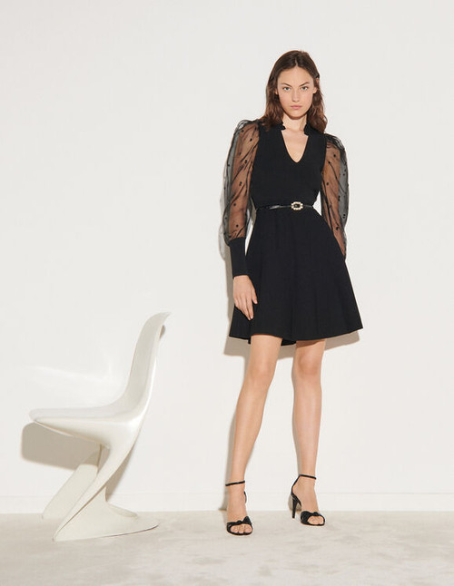 Knit dress with dotted Swiss sleeves - Black
