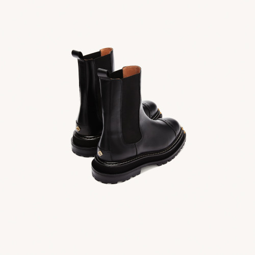Black ankle boots with notched sole - Black