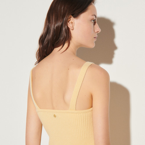 Knitted twinset top - Yellow
