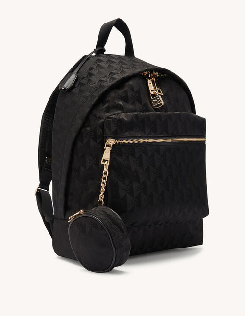 Double S jacquard fabric backpack - Black