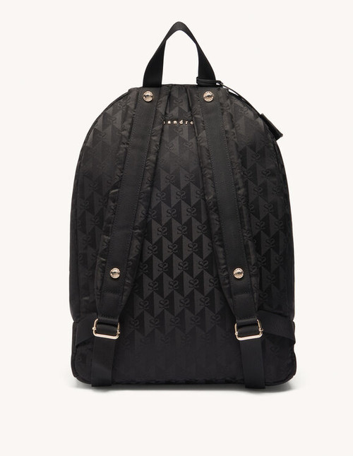 Black backpack with Sandro Paris logo