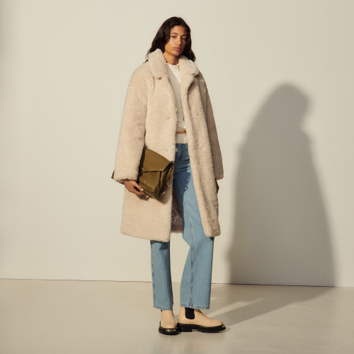 Long faux fur coat - Ecru