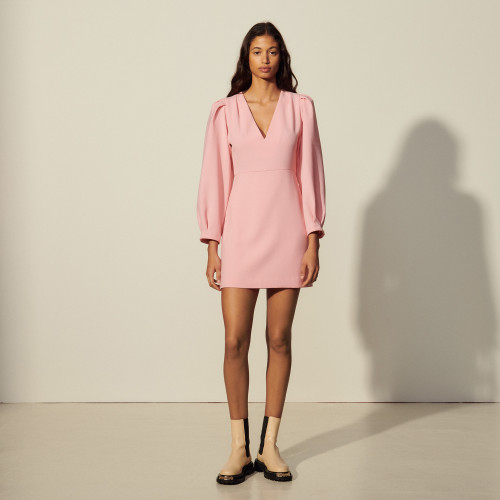 Short dress with pleats and draping - Pink
