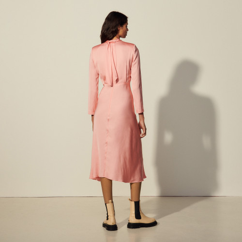 Long dress with draped neckline - Pink