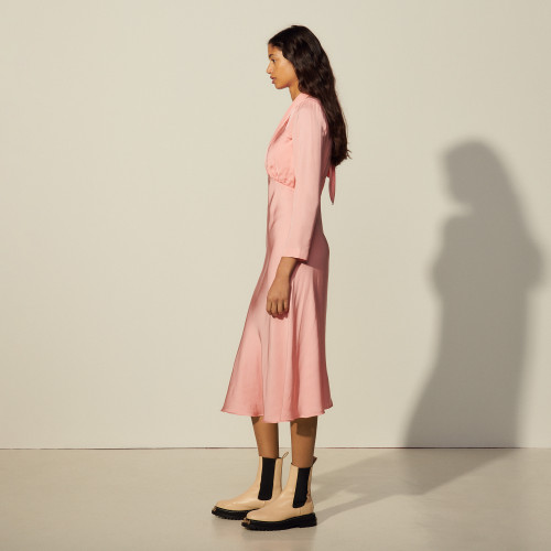 Long dress with draped neckline in pink by Sandro Paris