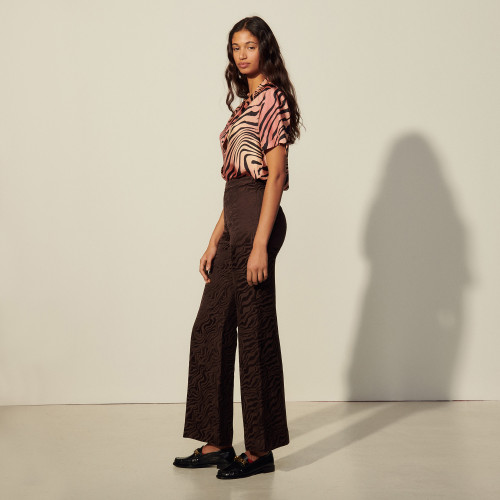 High waisted jacquard trousers - Brown