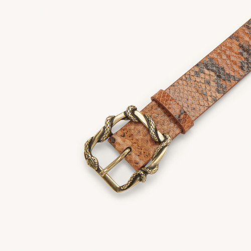 Python belt with decorative buckle - Brown