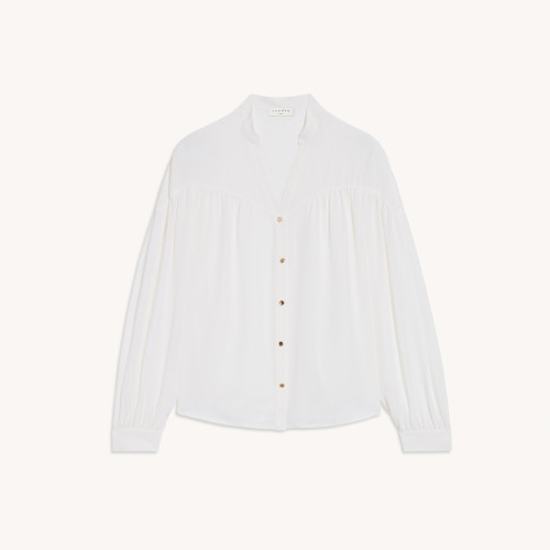 Silk button down shirt with long sleeves in white by Sandro Paris