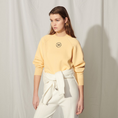Knit sweatshirt with embroidery - Yellow