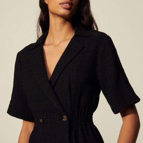 Dress with tailored collar - Black
