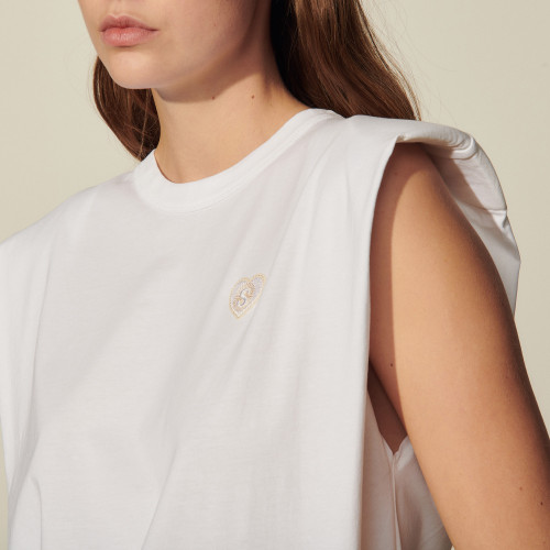 Sleeveless T-shirt with patch - White