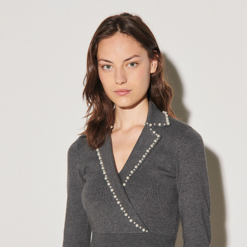 Sandro Knit dress finished with beads