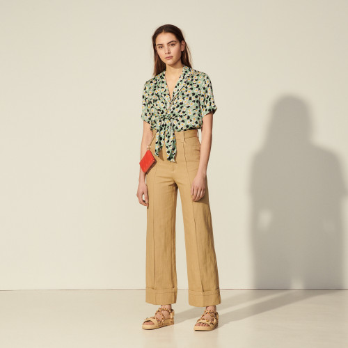 Sandro Wide-leg linen and cotton trousers camel