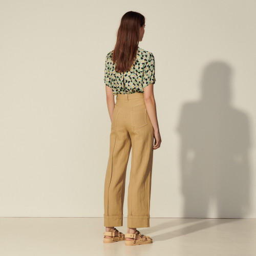 Sandro Wide-leg linen and cotton trousers