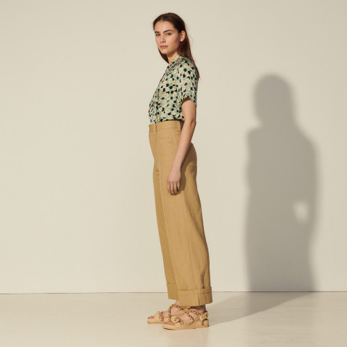 Wide-leg linen and cotton trousers - Camel