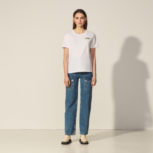 Sandro Embroidered T-shirt in organic cotton
