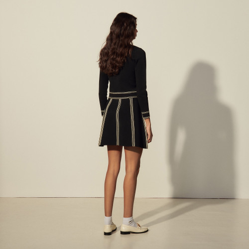 A line knit skirt - Black