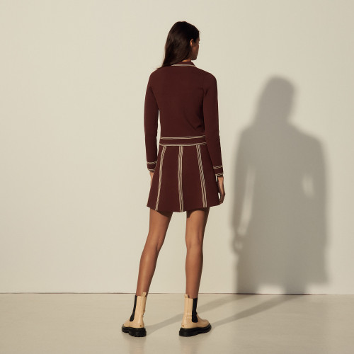 A line knit skirt - Brown