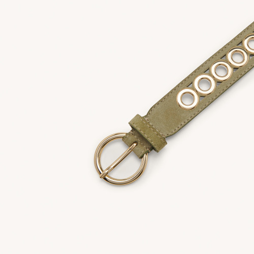 Leather belt with eyelets - Green