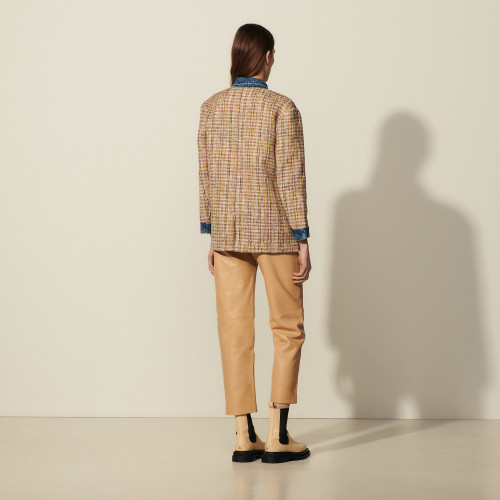 Tweed jacket with denim inserts - Multiclr
