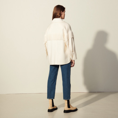 Fringed jacket in double faced wool - Ecru