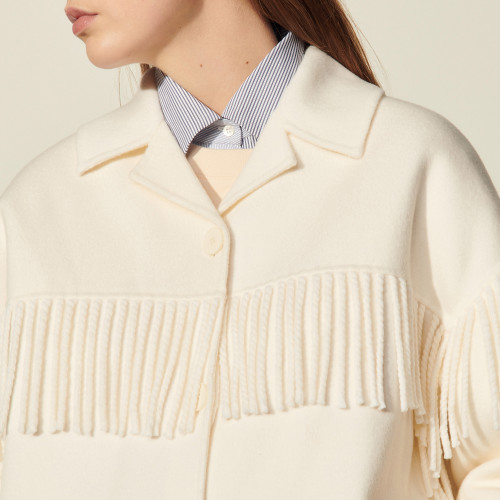 Sandro Paris Womens Ecru Jacket with Fringe