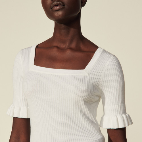 Short-sleeved ribbed sweater - White