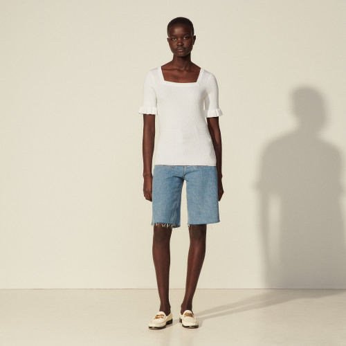 Sandro Short-sleeved ribbed sweater