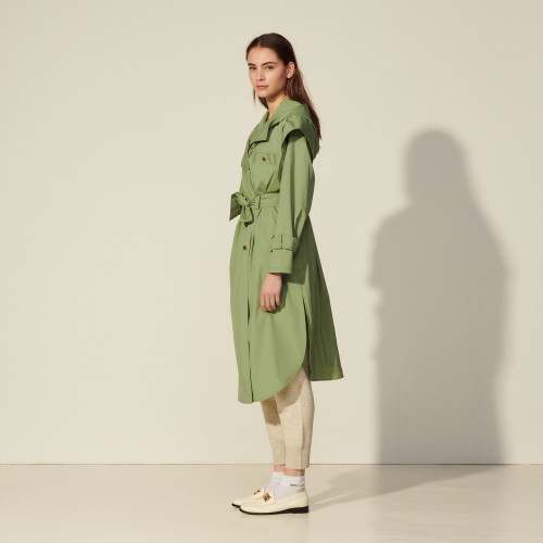 Long coat with hood - Green