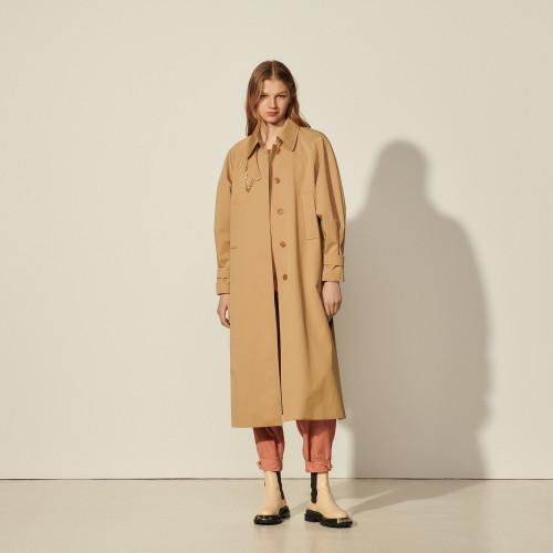 Cotton trench coat with detachable chain - Sand
