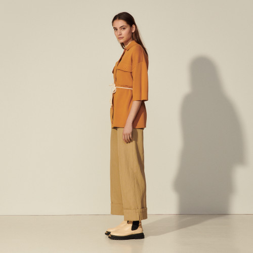 Oversized overshirt-style coatigan - Brown