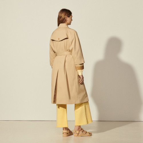 Cotton trench coat with cut-outs - Beige