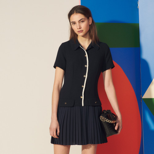 Sandro Mixed material pleated dress