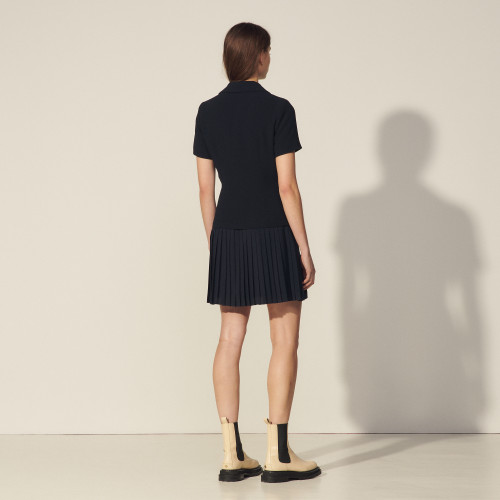 Mixed material pleated dress  - Navy