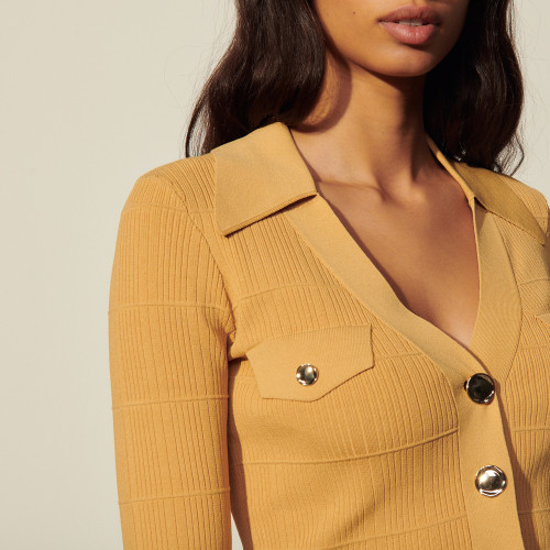 Knitted cardigan with polo neck - Camel