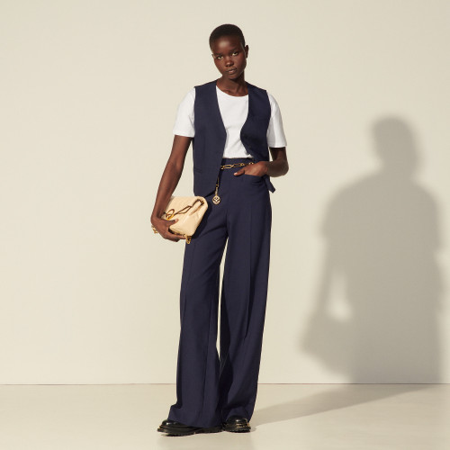 High-waisted viscose trousers - Navy