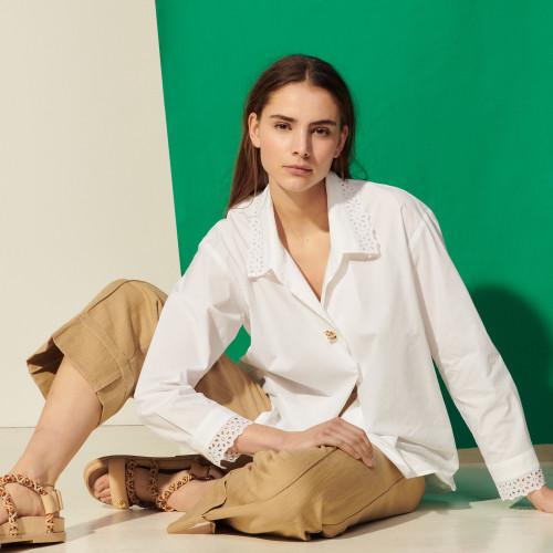 Poplin shirt with broderie anglaise collar - White