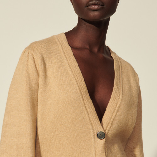 Long buttoned cardigan - Beige