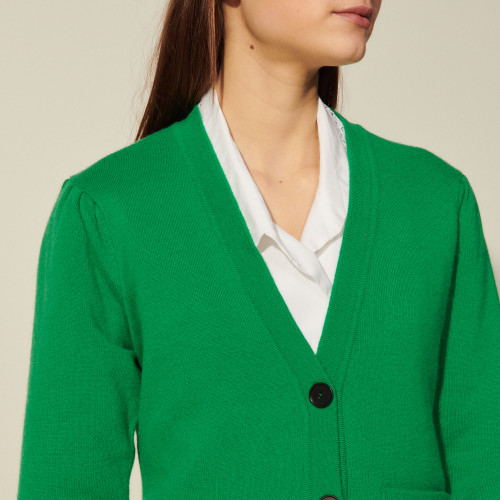 Long buttoned cardigan - Green
