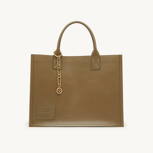 Leather tote bag with chain jewellery - Green