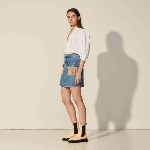 Sandro Denim skirt with tweed pockets