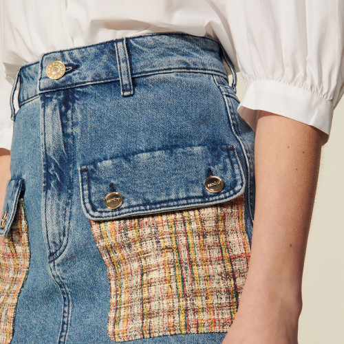 Denim skirt with tweed pockets - Blue