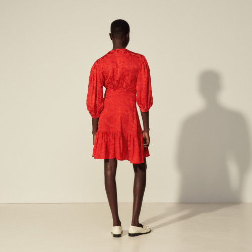 Short red silky dress by Sandro Paris