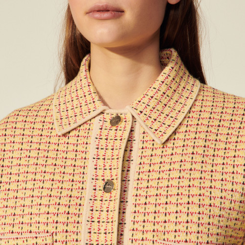 Tweed overshirt-style cardicoat - Yellow