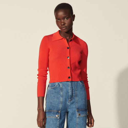 Sandro Cropped cardigan with shirt collar