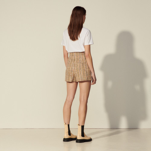 Tweed shorts with zip at the front - Multiclr