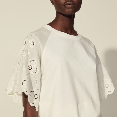 Sandro Organic cotton T-shirt with embroidery