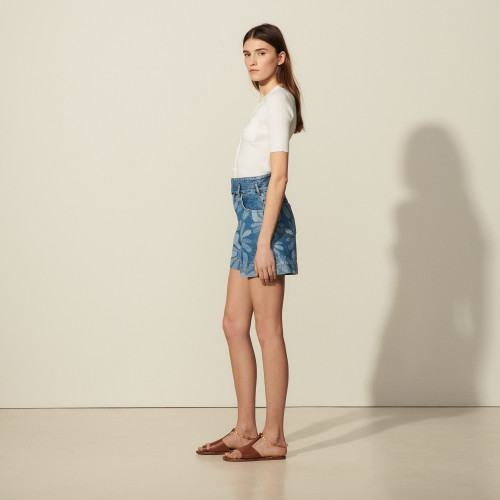 Printed denim shorts - Blue
