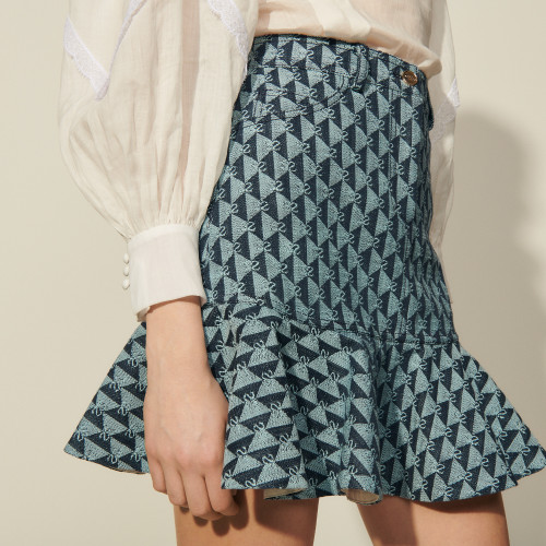 Short monogram denim skirt - Blue